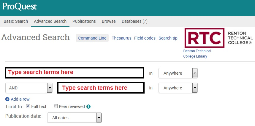 Screenshot of ProQuest Advanced Search Screen