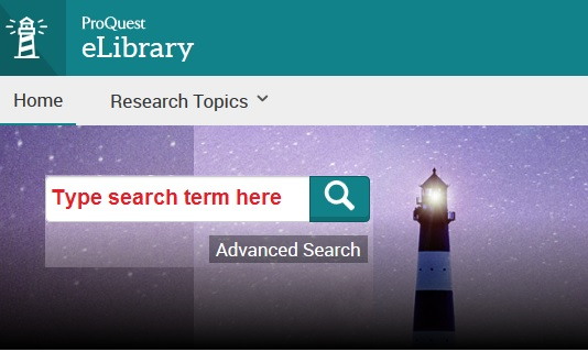 Screenshot of eLibrary Search screen