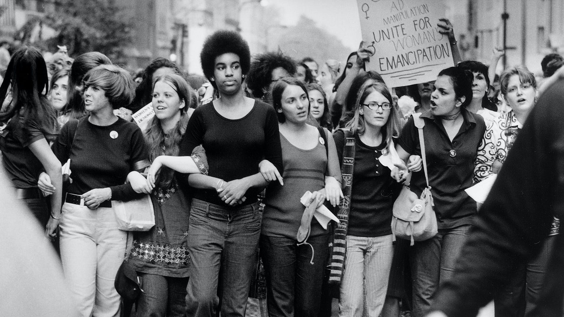 Image of activists marching for women's emancipation