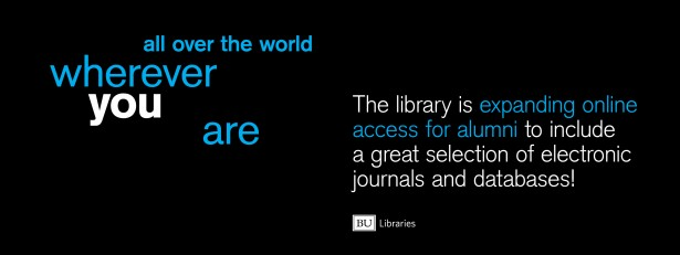 Banner: all over the world wherever you are the library is expanding online access for alumni to include a great selection of electronic journals and databases!