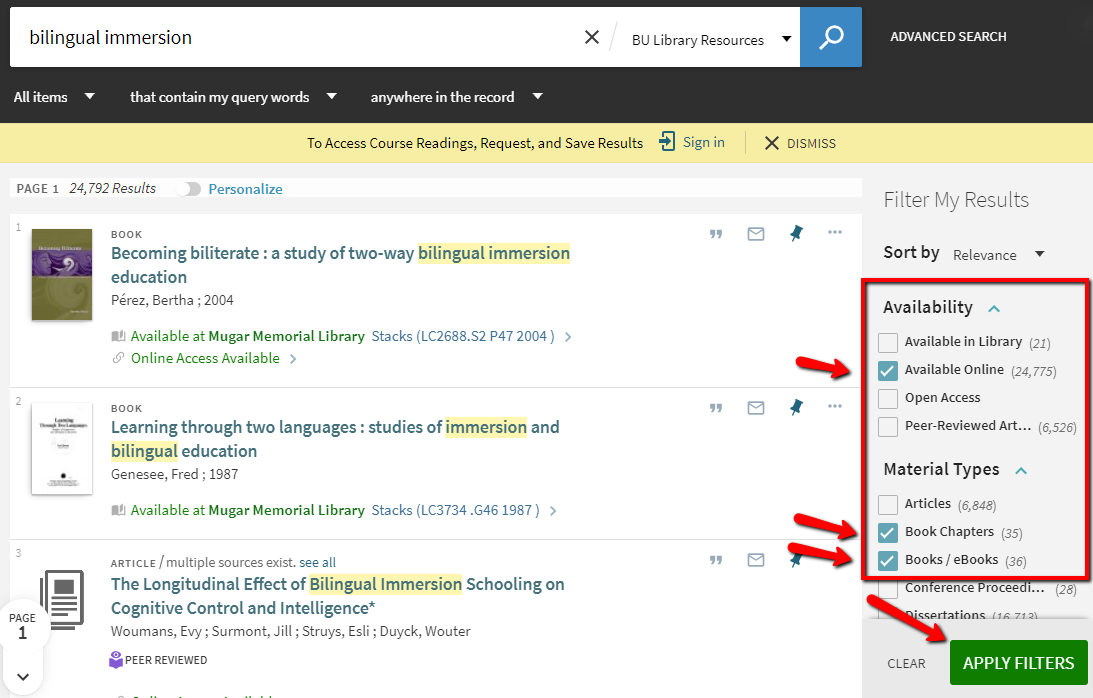 screenshot showing available online, book, and book chapter filters for a BULS search