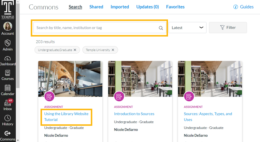 Library resources search results in Canvas Commons