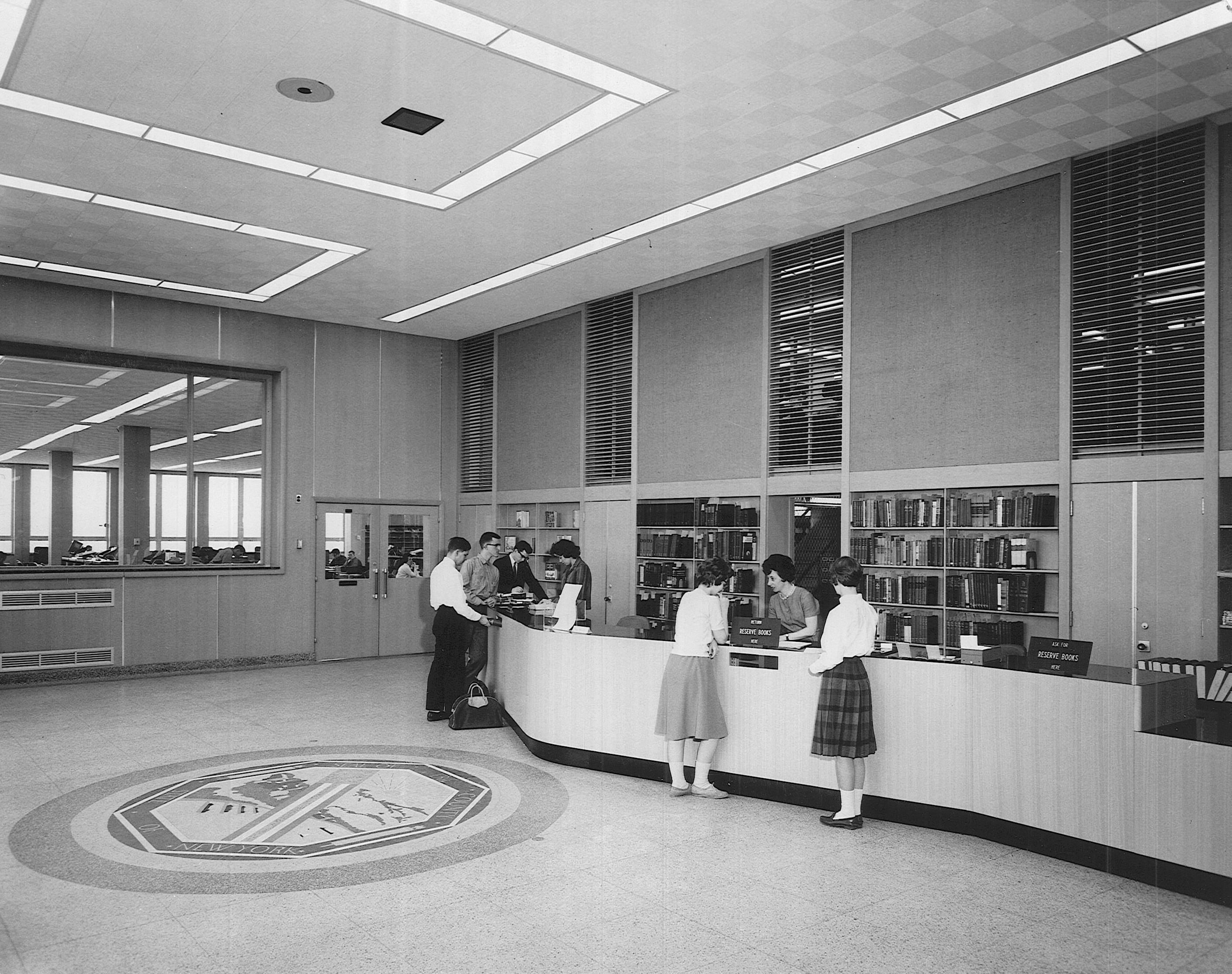 Library front desk, circa 1960s.