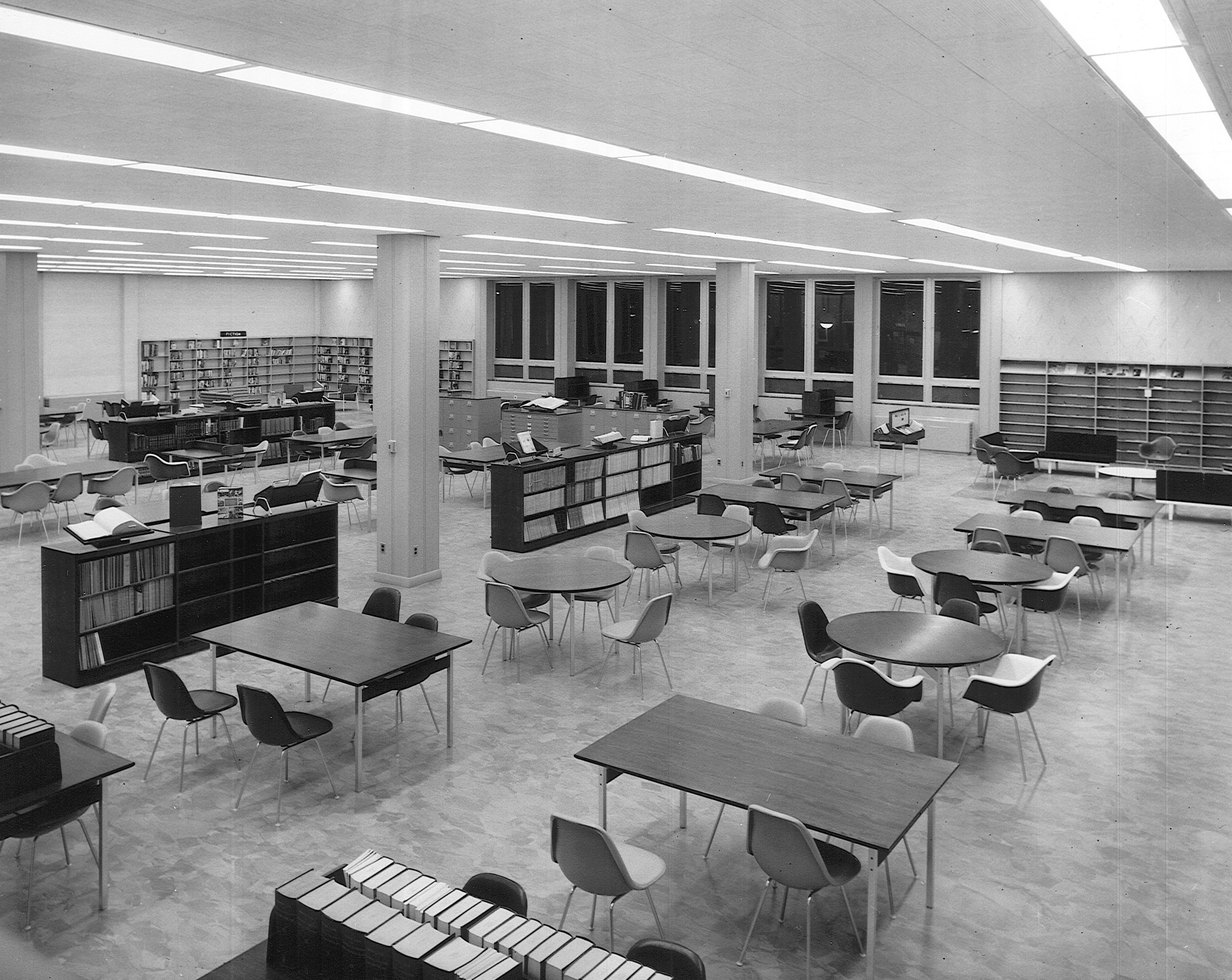 North Campus library reading room, c. 1960s.