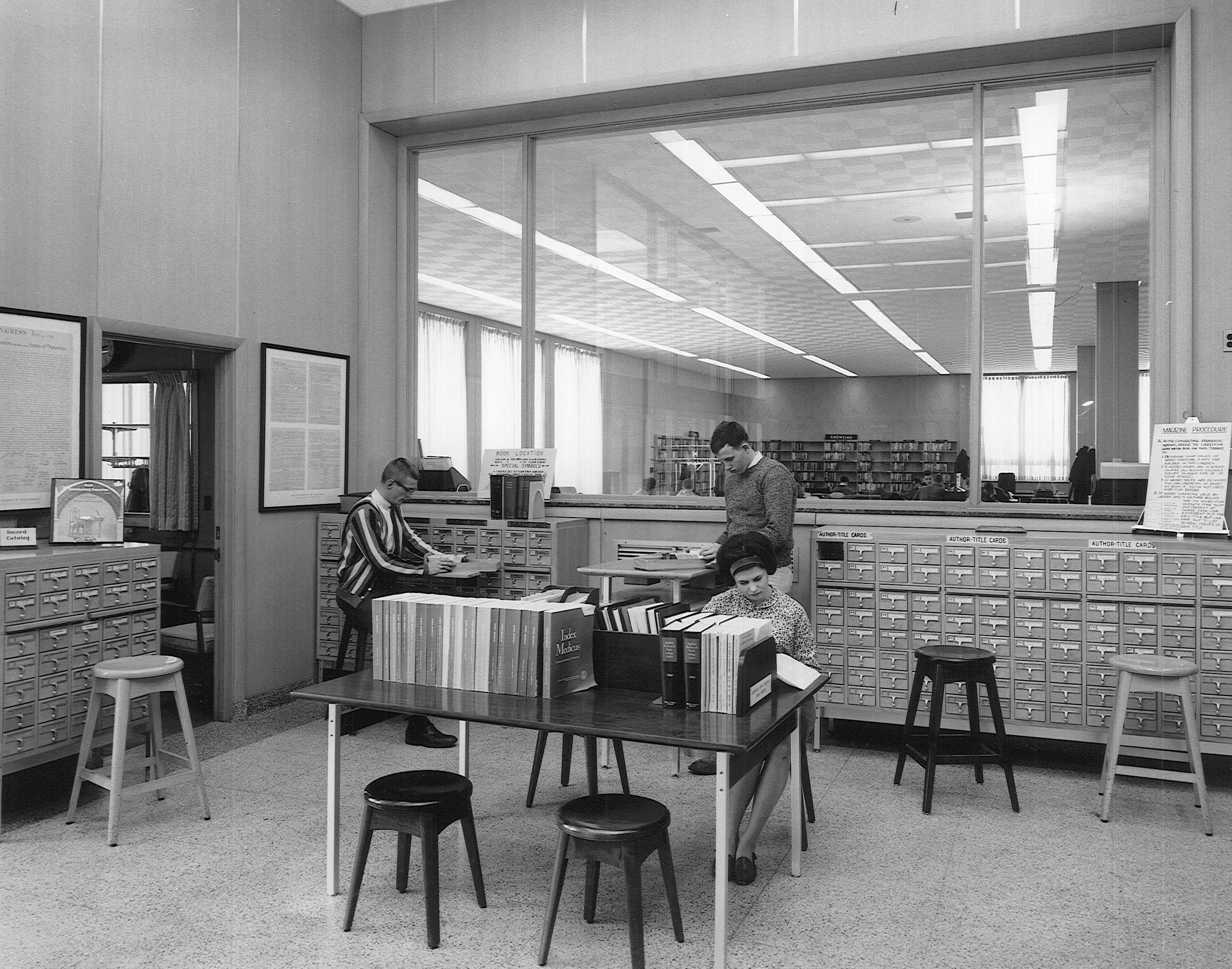 Library card catalog, circa 1960s.