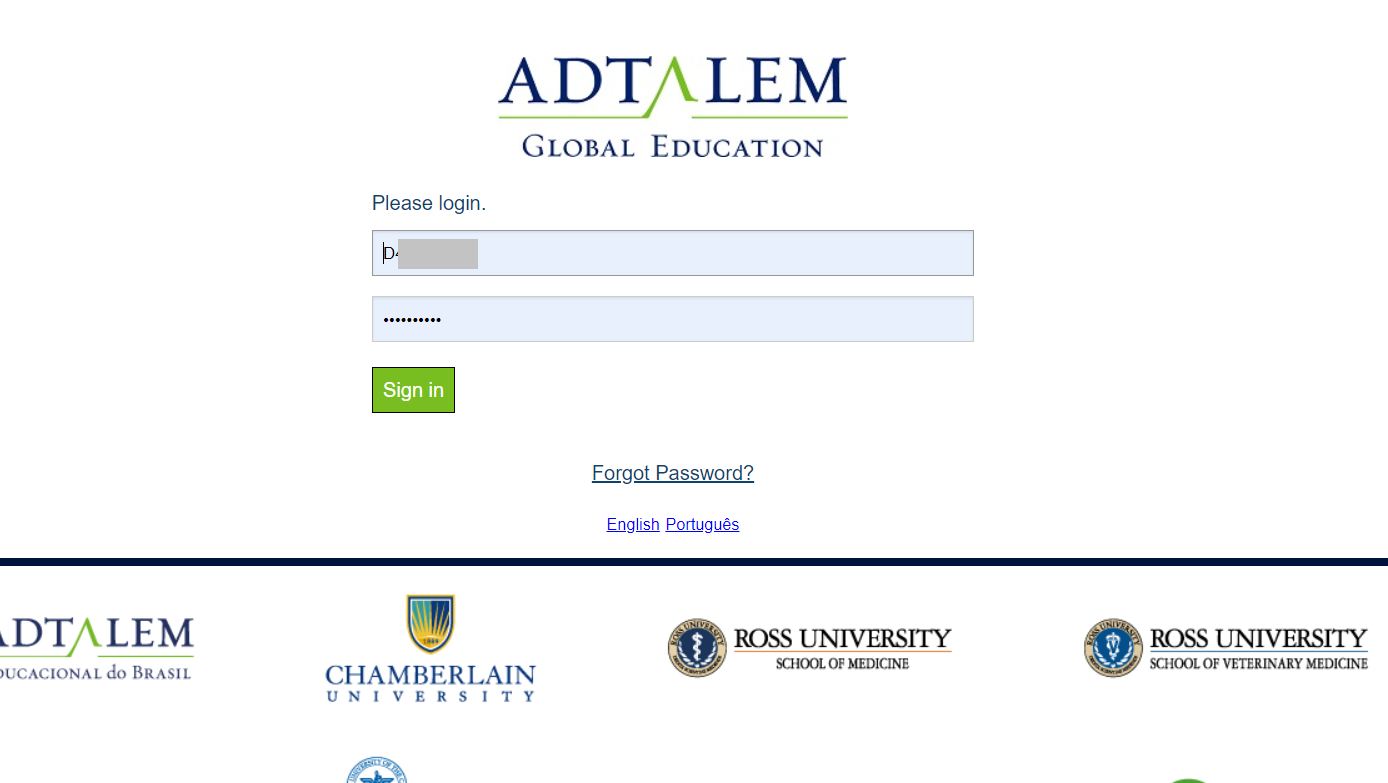 Adtalem Single Sign on Page to log into the library