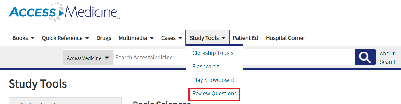 In Access Medicine, Review Questions option under Study Tools dropdown