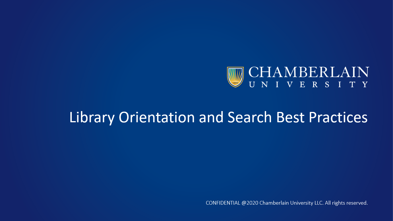 Library Orientation and Search Best Practices Video