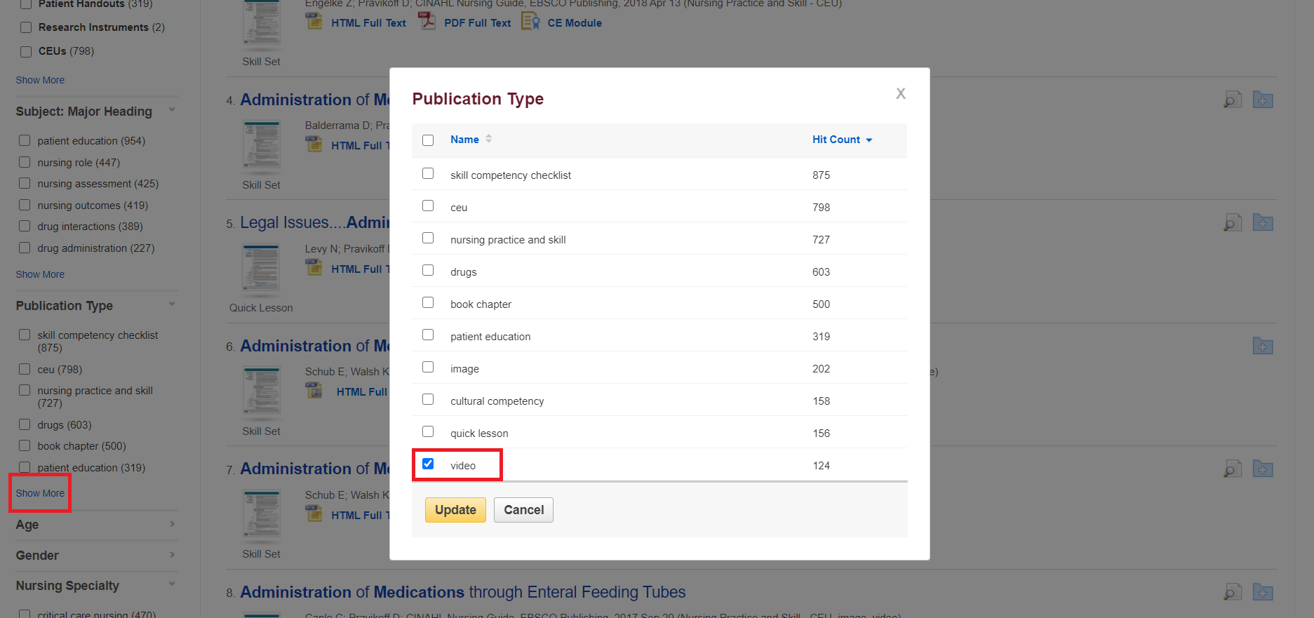 Select video as publication type in Nursing Reference Center Plus