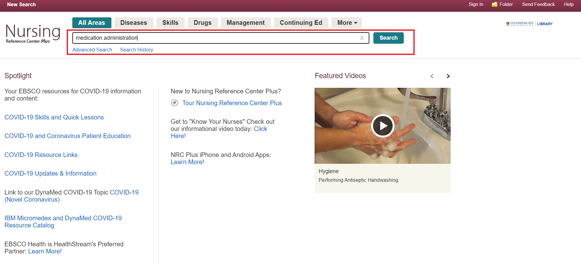 Search for medication administration videos in Nursing Reference Center Plus