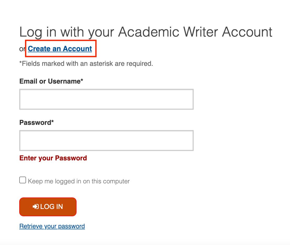 Academic Writer Create an Account