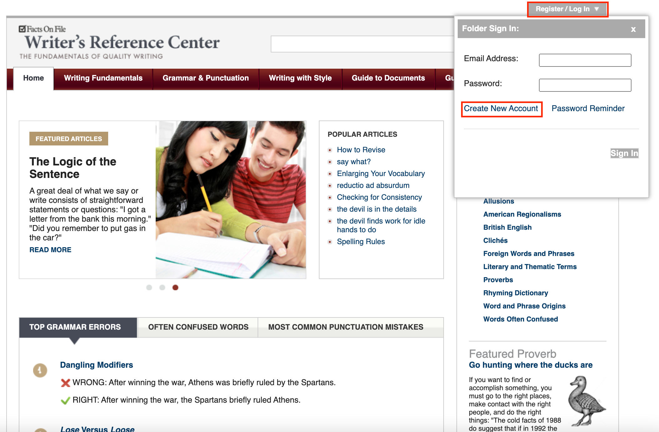 Writer's Reference Center Create New Account