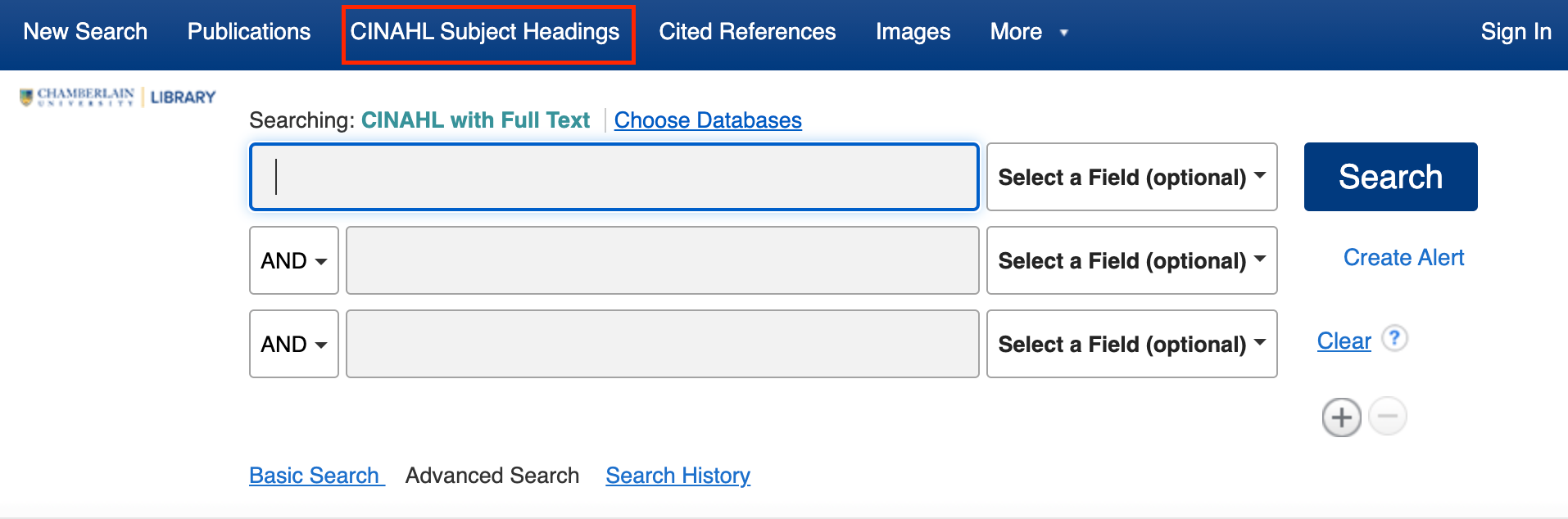 CINAHL Subject Headings in top navigation menu of the CINAHL with Full Text database