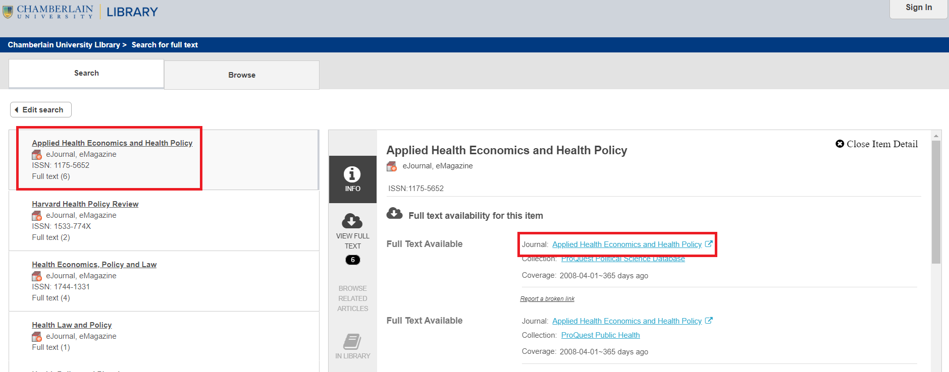 Search eJournals for health policy journals full text access