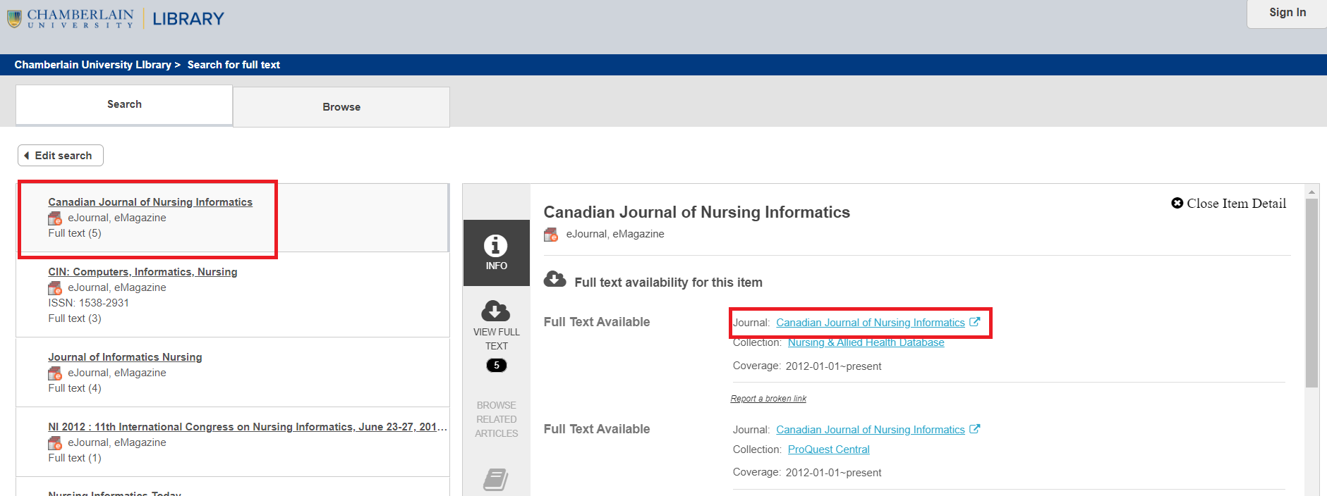 Search eJournals for nursing informatics journals full text access