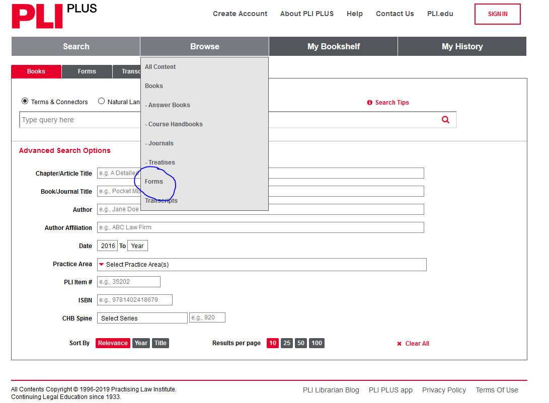 image PLI Plus Browse Forms