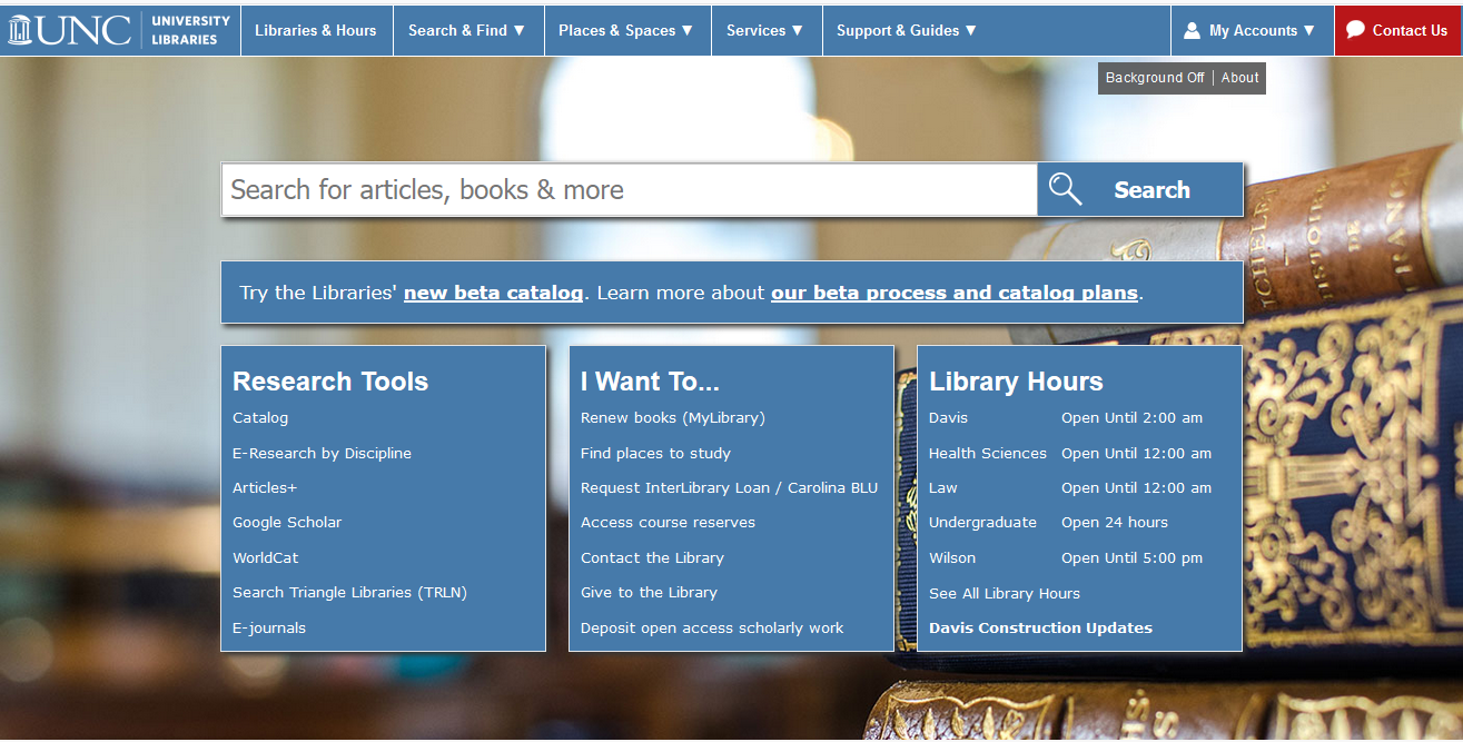 UNC-Chapel Hill Libraries Homepage and link