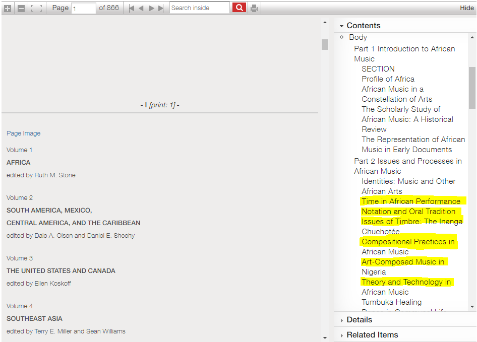 """Screenshot of the table of contents to Volume 1 of the Garland Encyclopedia, Africa, highlighting relevant chapters for music theory, such as """"Time in African Performance,"""" """"Notation and Oral Tradition,"""" """"Issues of Timbre,"""" """"Compositional Practices in African Music,"""" """"Art Composed Music in Nigeria,"""" and """"Theory and Technology in African Music"""""""