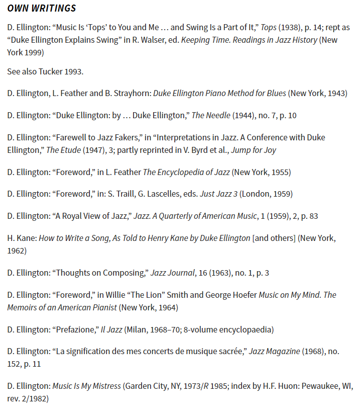 Screenshot of the Grove Dictionary entry on Duke Ellington, showing the Bibliography section detailing Ellington's own writings