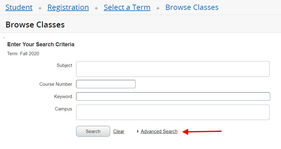 """Screenshot of the simple search. Advance Search is at the bottom, to the right of search and clear buttons. An arrow points to """"advanced search."""""""