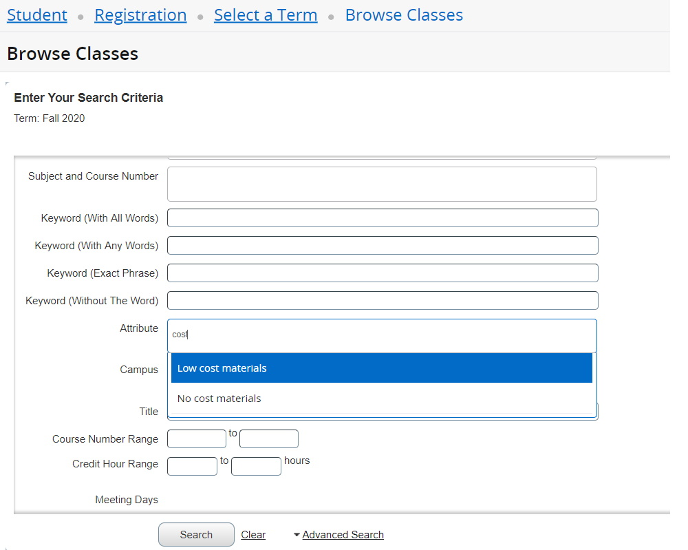 """Screenshot of advanced search. In Attribute field, """"cost"""" is typed, and the options Low cost materials and No cost materials appear as a dropdown."""