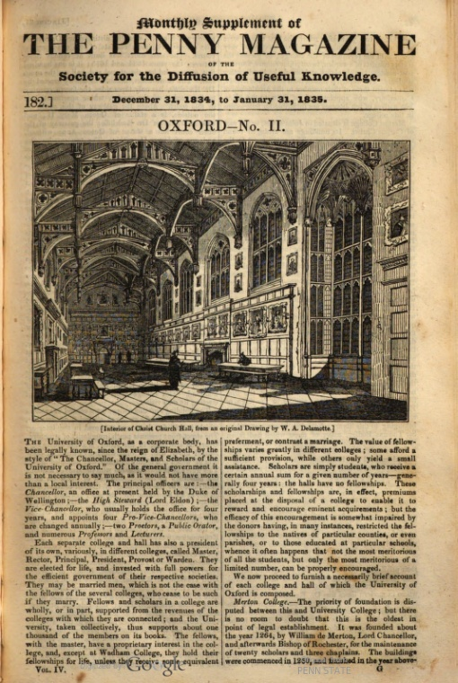 Oxford Penny Magazine 1835
