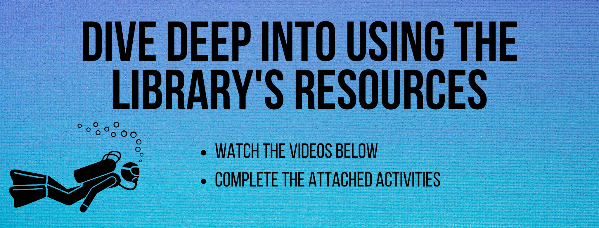 Dive deep into using the library's resources. Watch the videos and completed attached activities