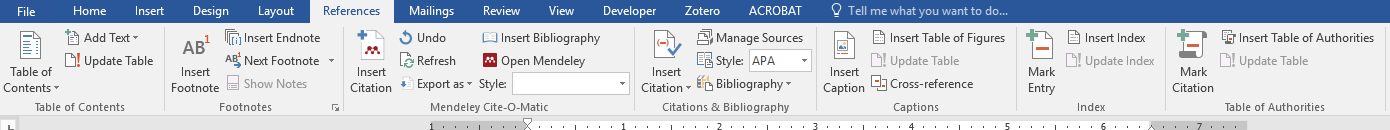 Menu bar on Microsoft Word