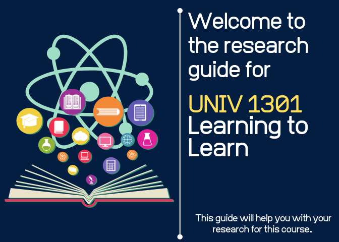 Welcome to the research guide for UNIV 1301: Learning to Learn - graphic of open book with circular icons filled with books, documents