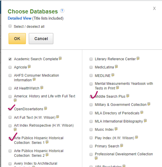 Checked off databases in list