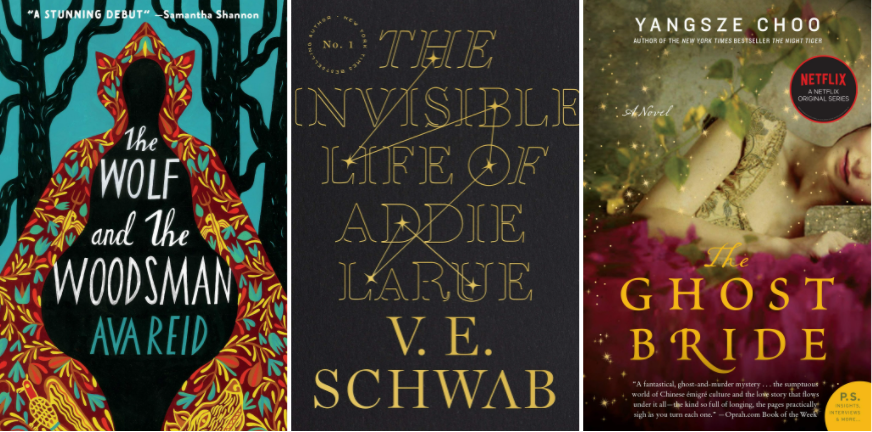 Covers of The Wolf and the Woodsman by Ava Reid; The Invisible Life of Addie LaRue by Victoria Schwab; The Ghost Bride by Yangsze Choo