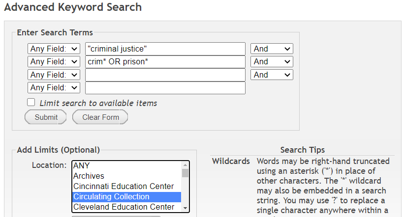 Screen shot of a search with the tips listed above