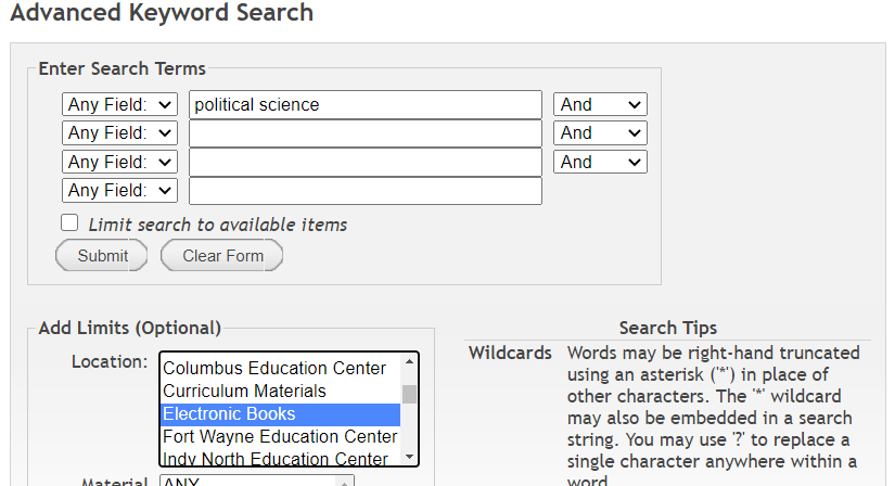 Screen shot of search directions above to find eBooks.