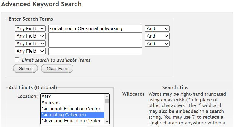 Screen shot of search for print book about social media OR social networking