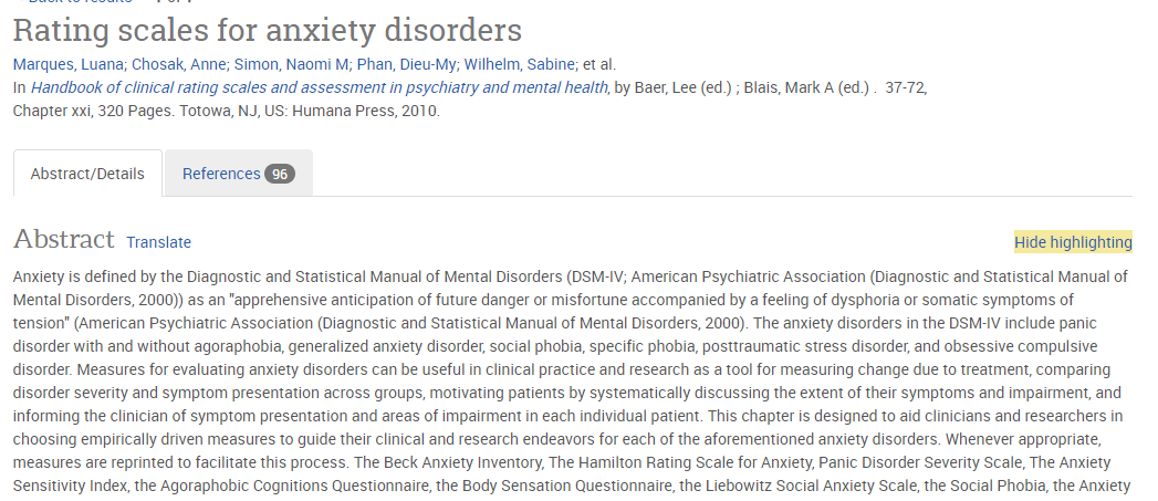 Appended scales for anxiety disorders