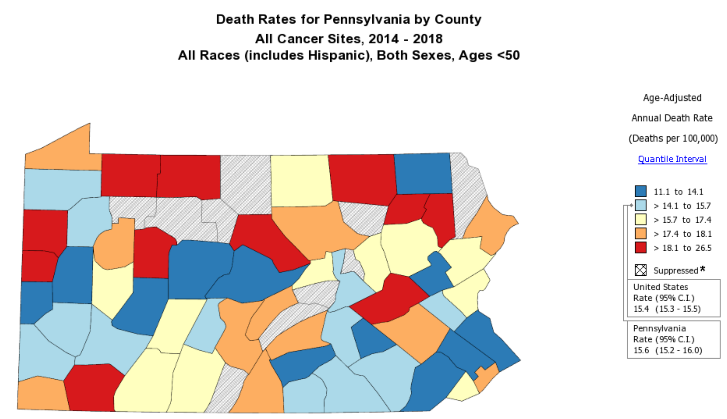 State Cancer Profiles Pennsylvania Cancer Mortality Map