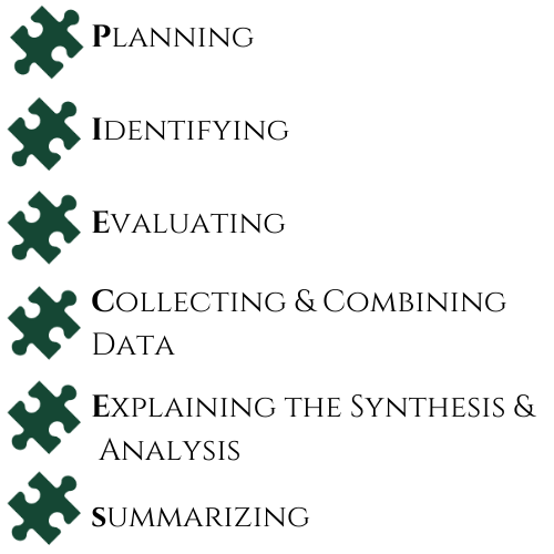 Steps to the systematic review process: planning, identifying, evaluating, collecting and combining data, explaining the synthesis and analysis, and summarizing