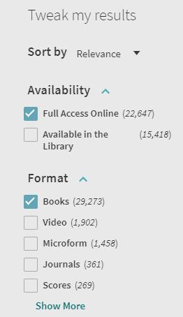tweak my results menu in the library catalog