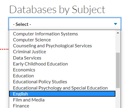 the drop down menu under databases by subject showing english