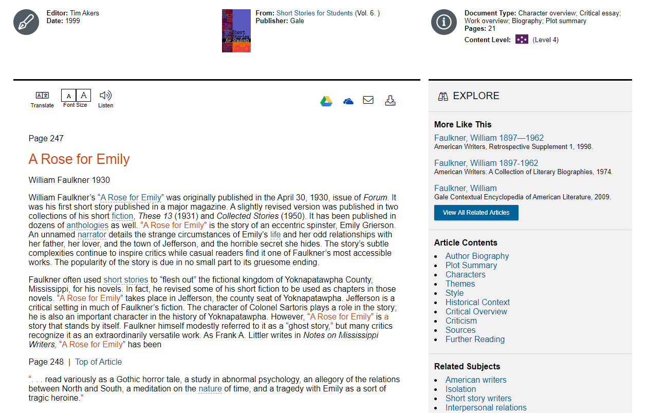 a screen shot of an entry from Gale ebooks showing information on a rose for emily by william faulkner