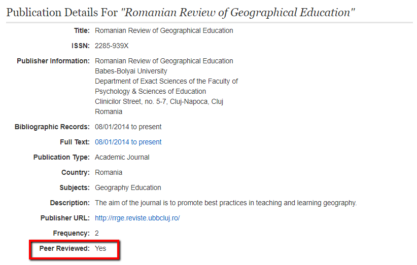 publication details on a journal with the peer reviewed information highlighted