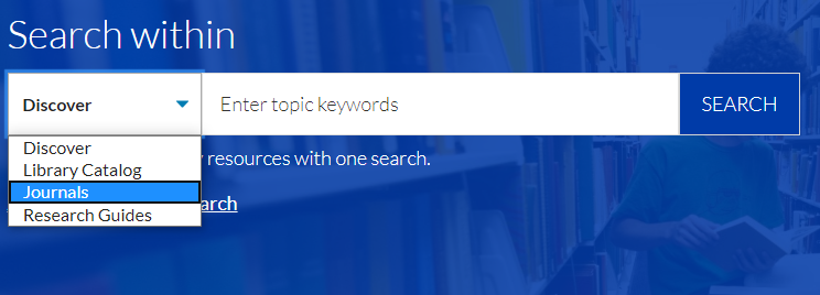Showing the search within drop down menu that leads to the journals search