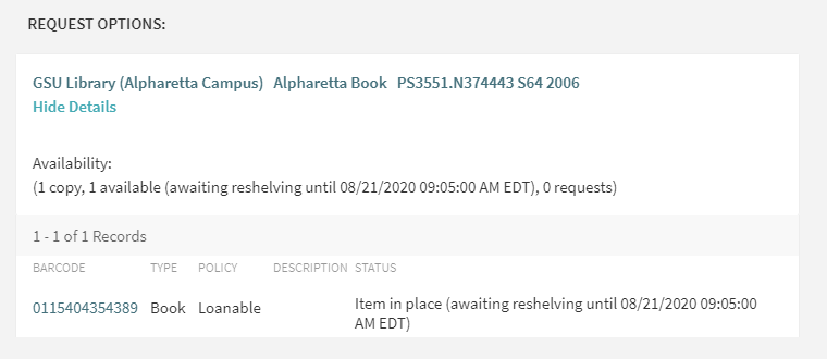 A screenshot from the catalog showing the awaiting reshelving status followed by the date.