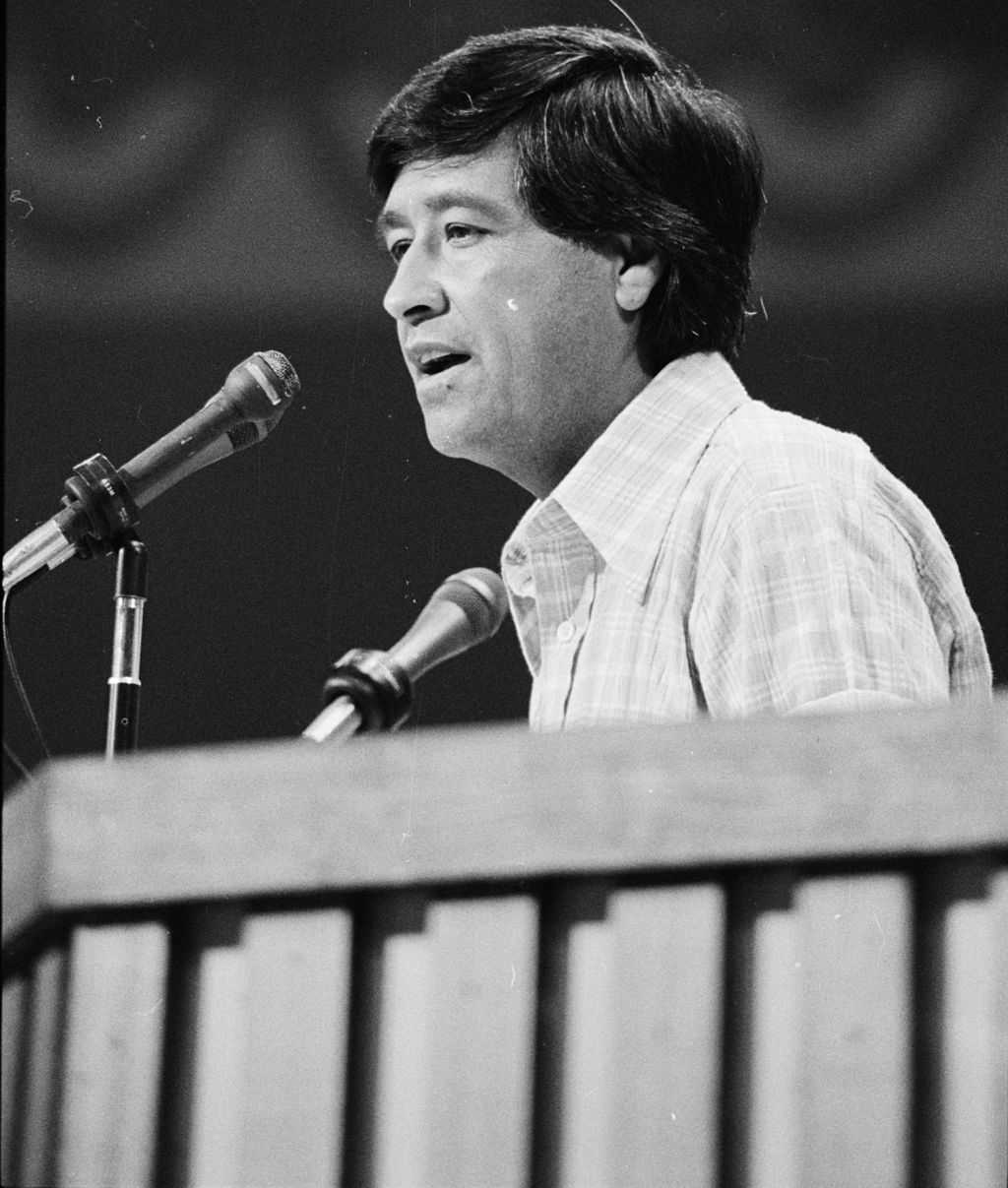 Democratic Convention in New York City, July 14, 1976. Cesar Chavez at podium, nominating Gov. Brown.