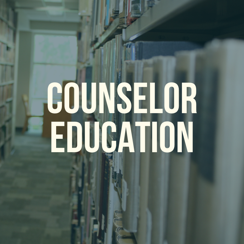 "Picture of the library shelves with the word ""Counselor Education"" to label this guide."