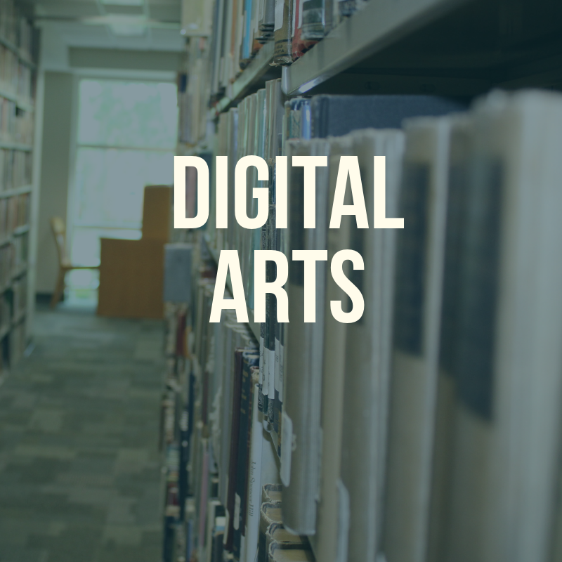 "Picture of the library shelves with the word ""Digital Arts"" to label this guide."