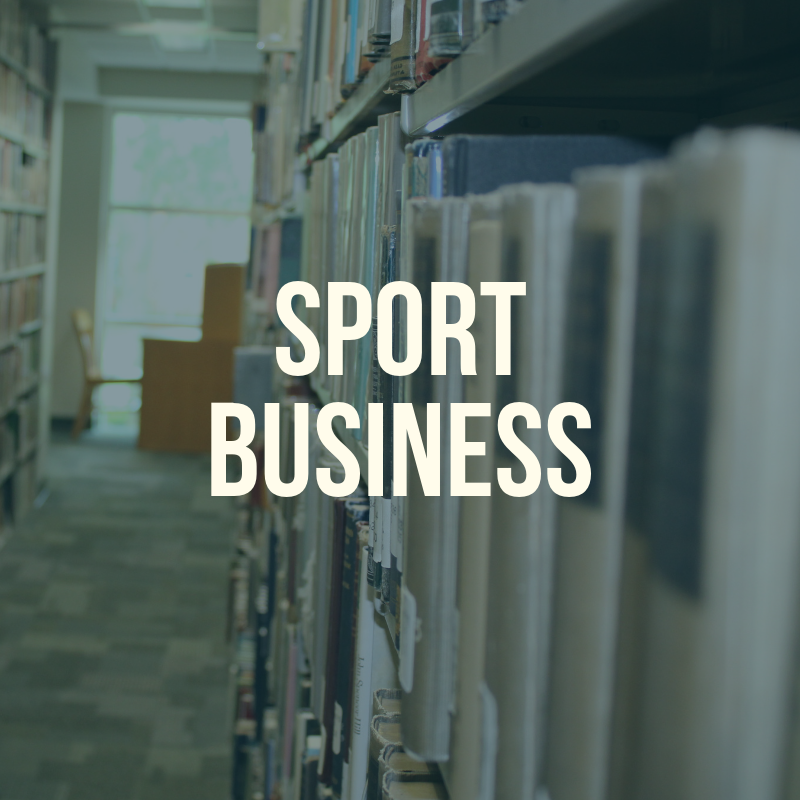 "Picture of the library shelves with the word ""Sport Business"" to label this guide."