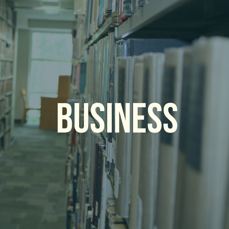 Picture of the library shelves with the word Business to label this guide.