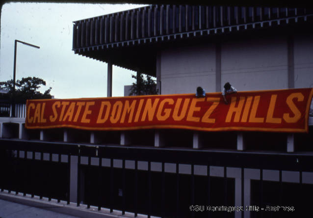 campus library with Cal State Dominguez Hills banner