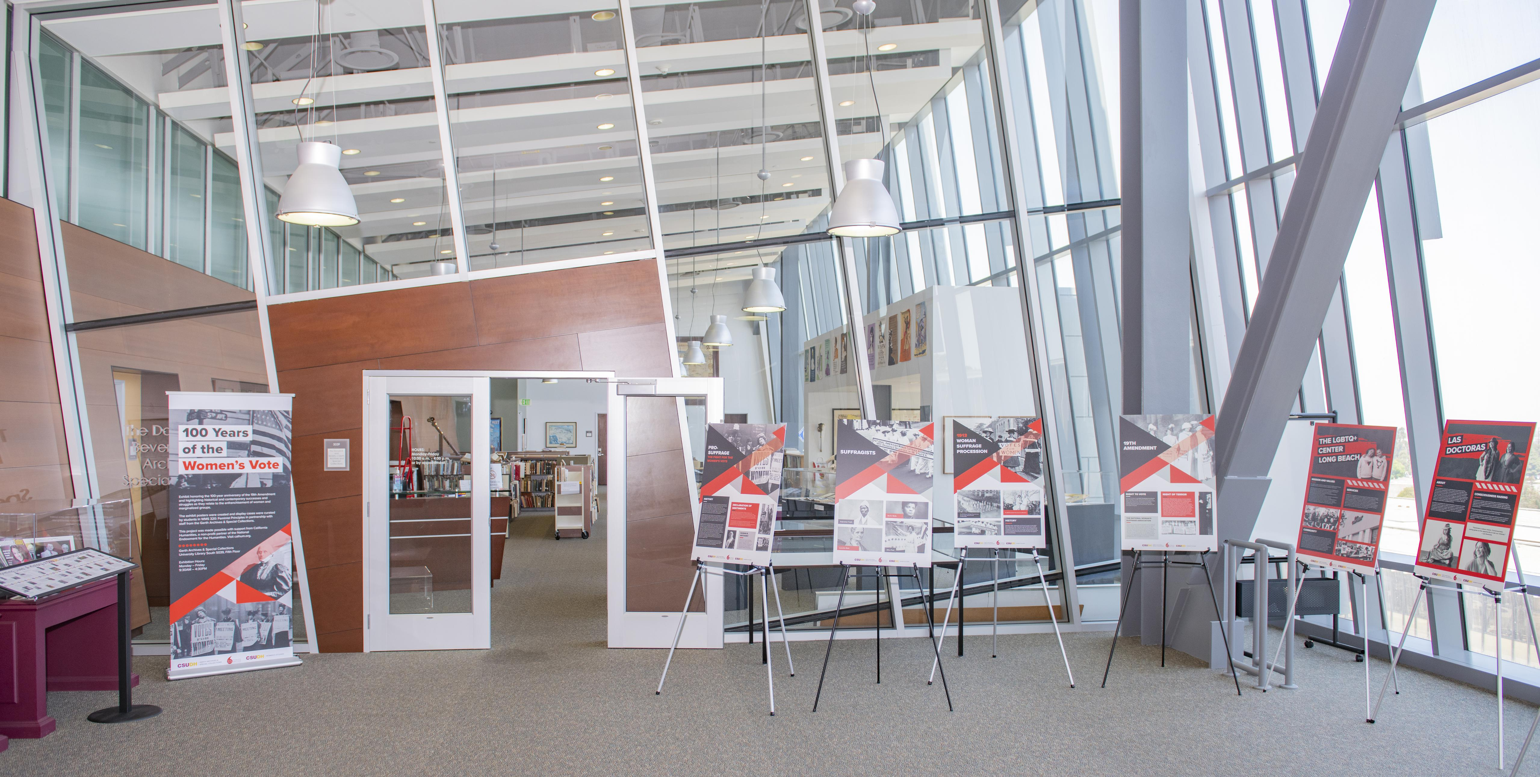 Gerth Archives & Special Collections on the 5th floor of the CSUDH Library with exhibit posters.